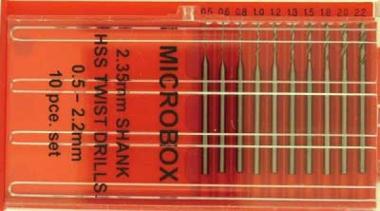 Microbox 10 Bohrer 0,5-2,2 mm mit 2,35 mm Schaft